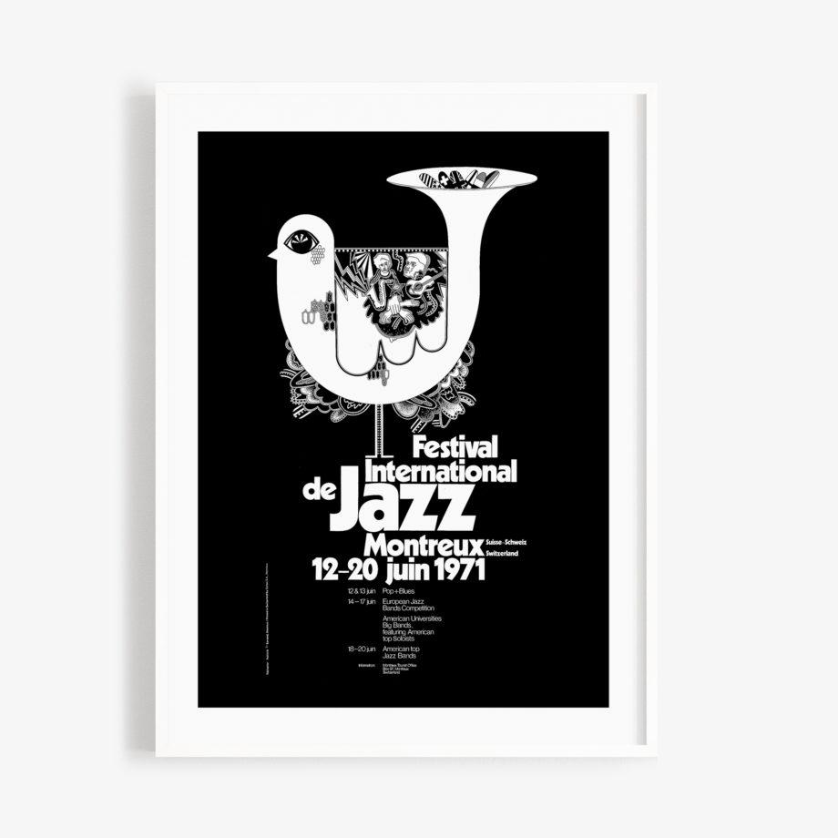 Poster Bruno Gaeng, 1971 Montreux Jazz Festival 30x40cm