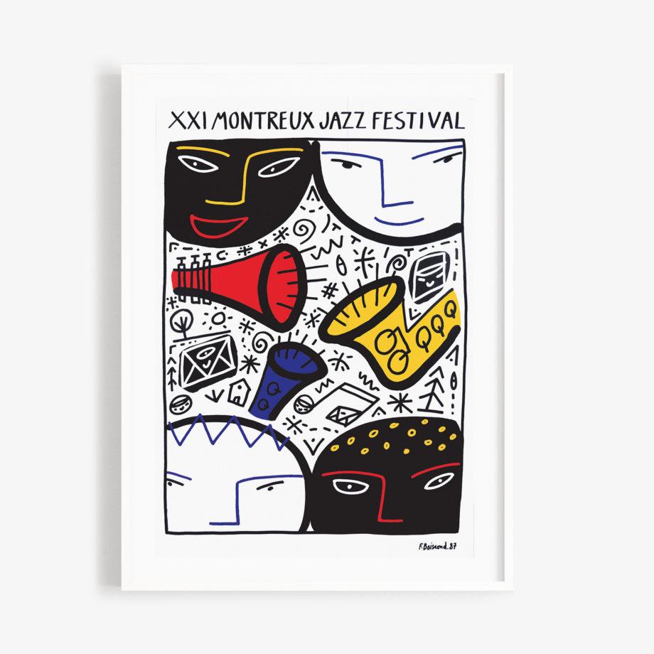 Poster François Boisrond, 1987 Montreux Jazz Festival 30x40cm