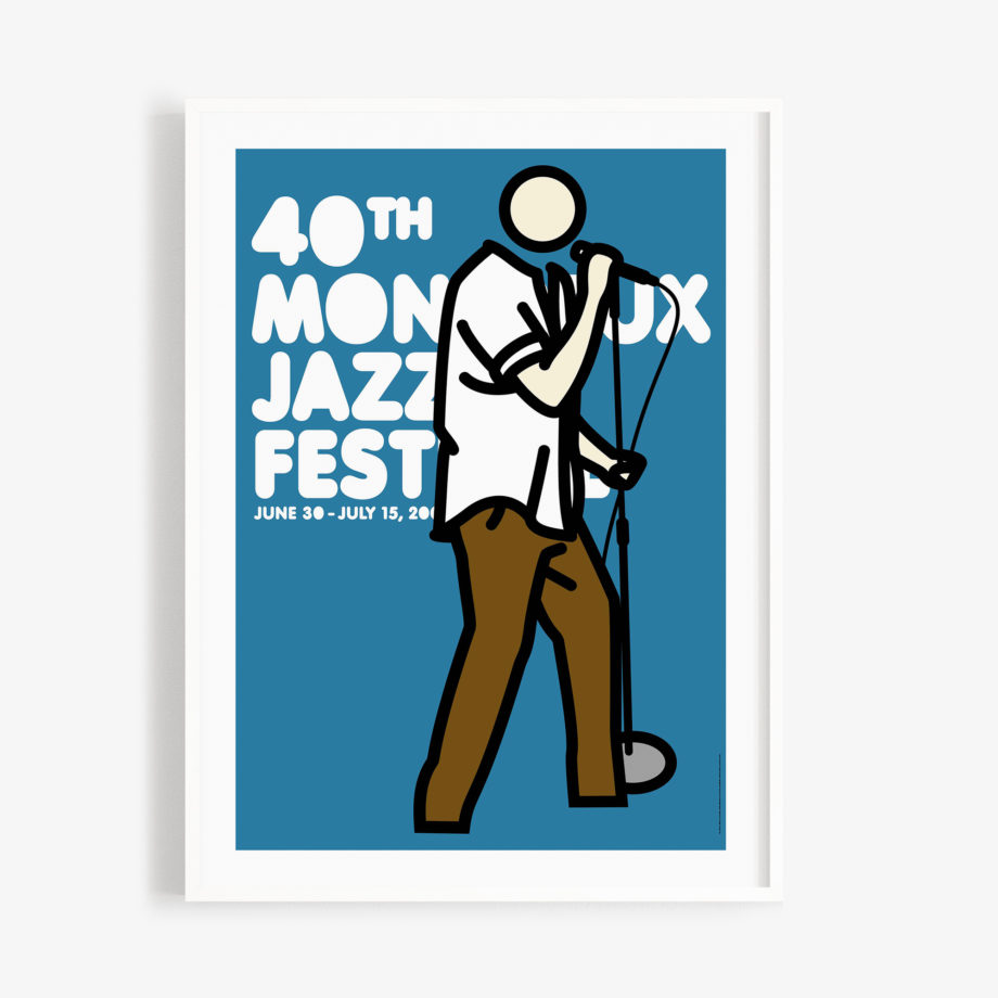 Poster Julian Opie 2006 Montreux Jazz Festival 30x40cm. Artwork Deep Purple Band. Background Blue