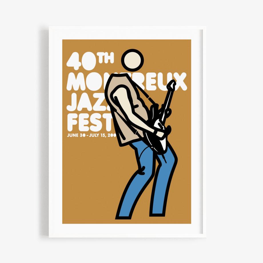 Poster Julian Opie 2006 Montreux Jazz Festival 30x40cm. Artwork Deep Purple Band. Background Mustard