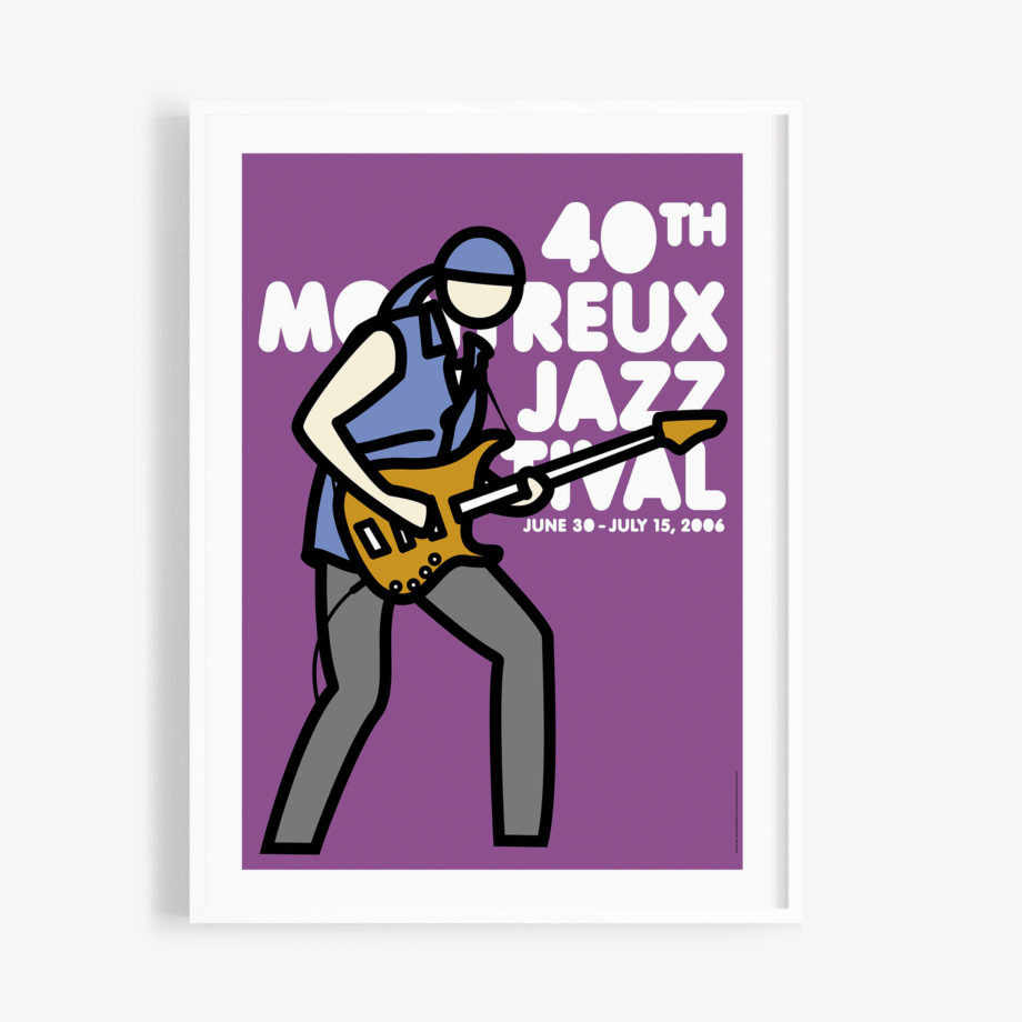 Poster Julian Opie 2006 Montreux Jazz Festival 30x40cm. Artwork Deep Purple Band. Background Purple