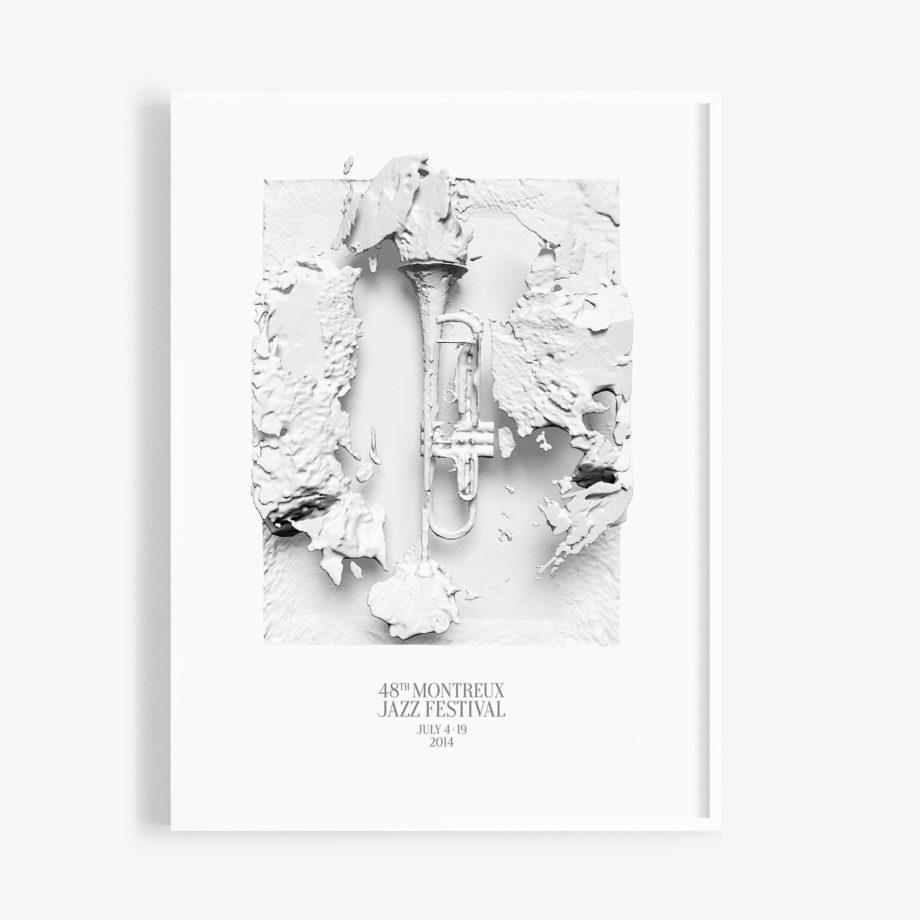 Poster 30x40cm Woodkid 2014 Montreux Jazz Festival 3d trompets black and white