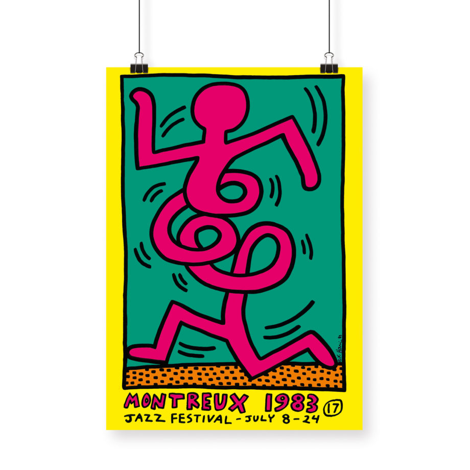 Poster Keith Haring, 1983 Montreux Jazz Festival 70x100cm yellow green pink