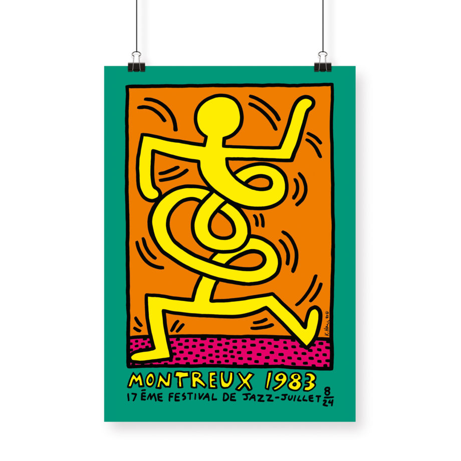 Poster Keith Haring, 1983 Montreux Jazz Festival 70x100cm green orange yellow