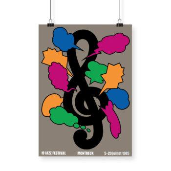 Poster Shigeo Fukuda, 1985 Montreux Jazz Festival 70x100cm