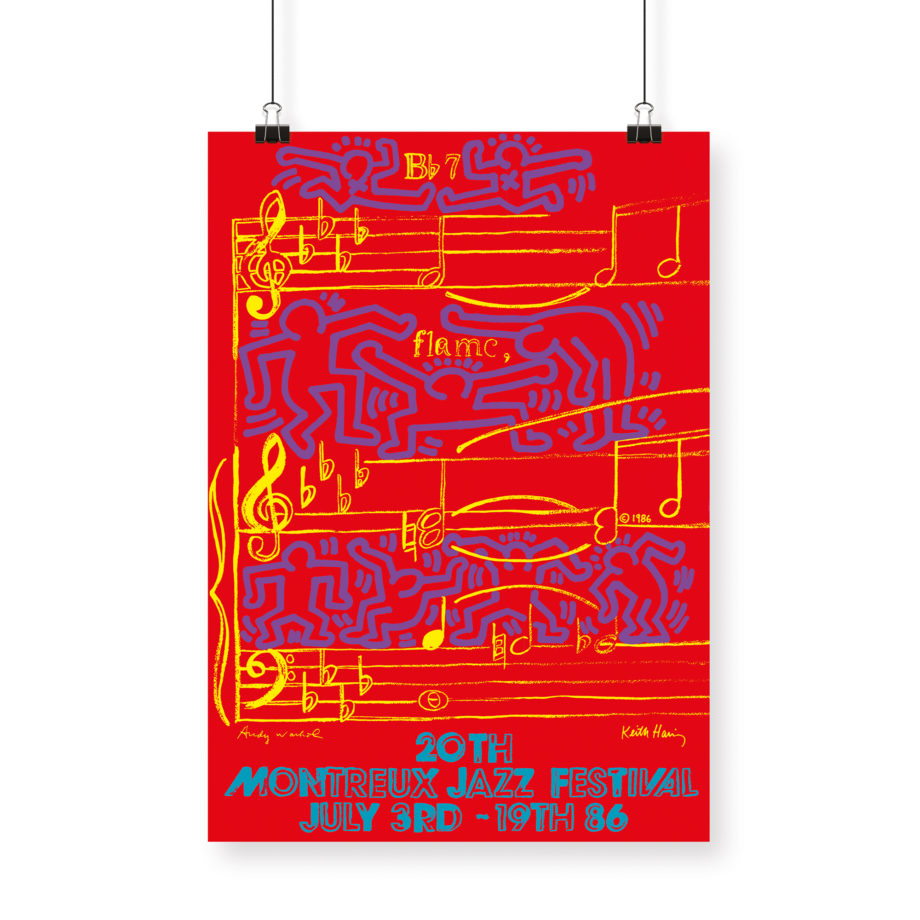 Poster Keith Haring and Andy Warhol, 1986 Montreux Jazz Festival 70x100cm