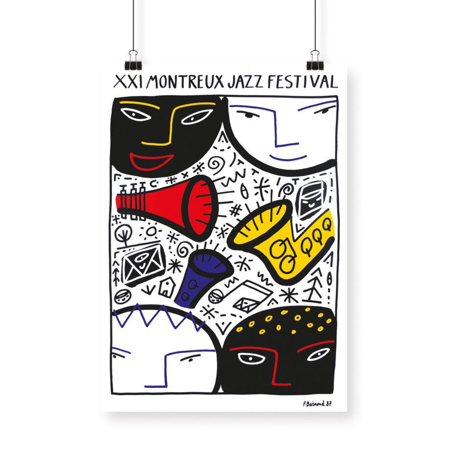 Poster François Boisrond, 1987 Montreux Jazz Festival 70x100cm