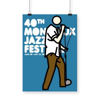 Poster Julian Opie 2006 Montreux Jazz Festival 70x100cm. Artwork Deep Purple Band. Background Blue