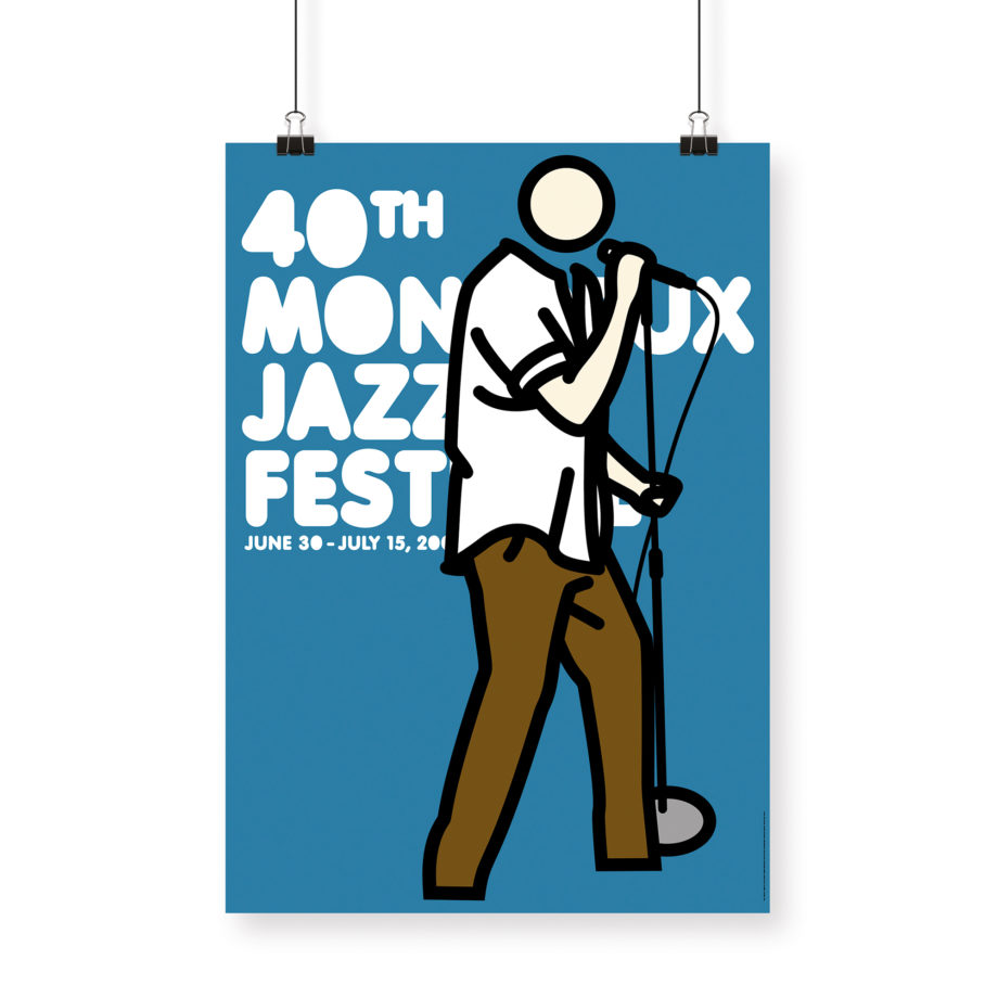 Poster Julian Opie 2006 Montreux Jazz Festival 70x100cm. Artwork Deep Purple Band. Background Blue