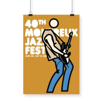Poster Julian Opie 2006 Montreux Jazz Festival 70x100cm. Artwork Deep Purple Band. Background Mustard
