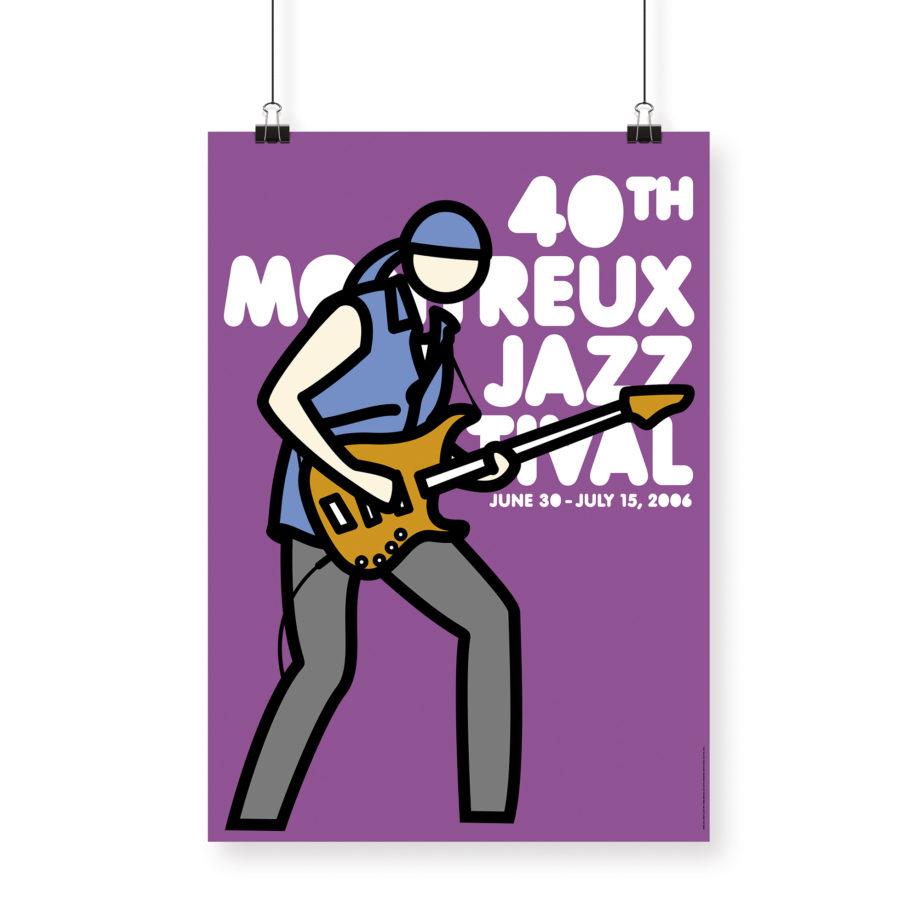 Poster Julian Opie 2006 Montreux Jazz Festival 70x100cm. Artwork Deep Purple Band. Background Purple