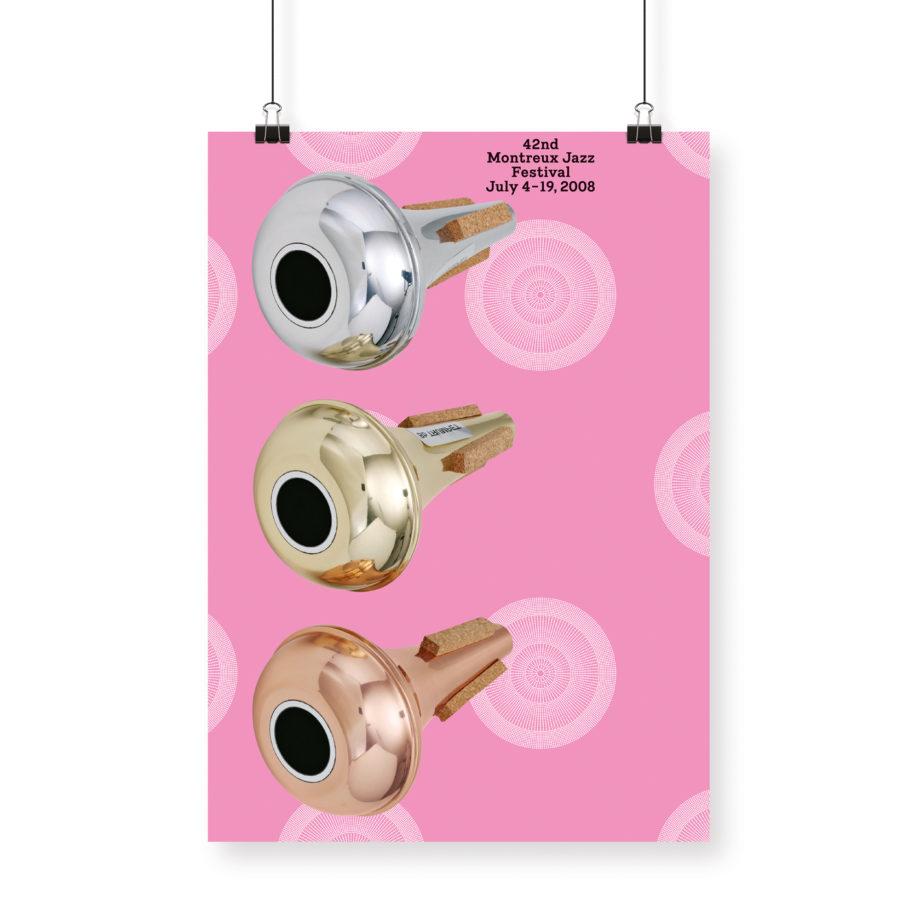 Poster John Armleder 2008 Montreux Jazz Festival 70x100cm Pink