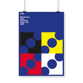 Poster Francis Baudevin 2011 Montreux Jazz Festival 30x40cm blue poster and yellow, black, white and red graphic elements