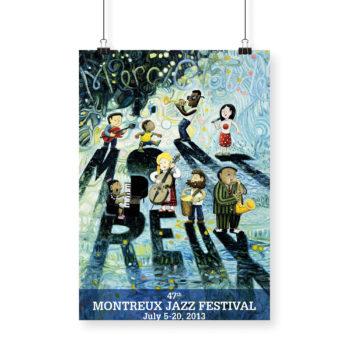 Poster Oscar Oiwa 2013 Montreux Jazz Festival 70x100cm