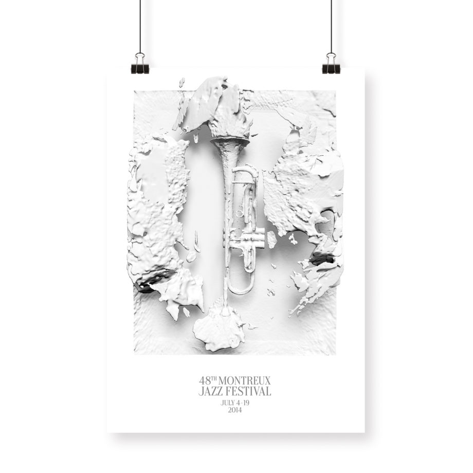Poster 70x100cm Woodkid 2014 Montreux Jazz Festival 3d trompets black and white