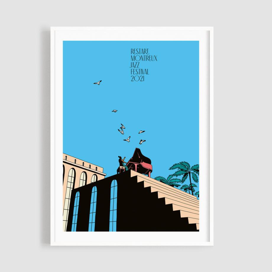 MJF21 Affiche Restart 50x70 Frame - Federico Tramonte - Montreux Jazz Music Festival