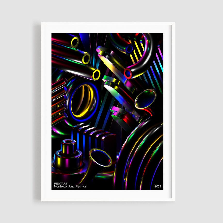 MJF21 Affiche Restart 50x70 Frame - Jamy Herrmann - Montreux Jazz Mucis Festival