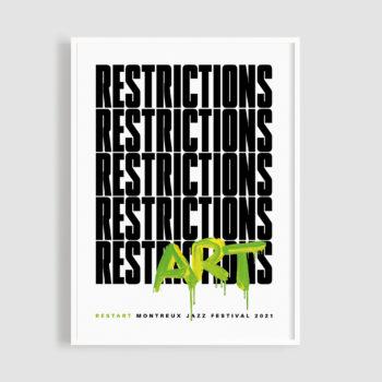 MJF21 Poster Restart 50x70 Frame - Joceline Strebel - Montreux Jazz Music Festival